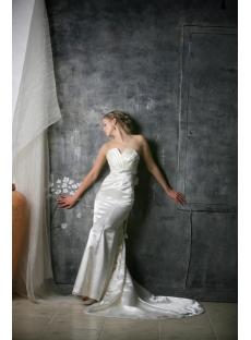 Ivory Sheath Long Casual Wedding Dress