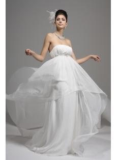 Ivory Strapless Empire Flowy Wedding Dresses:1st-dress.com