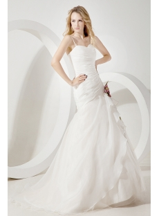 Ivory Straps Organza Mermaid Bridal Gowns