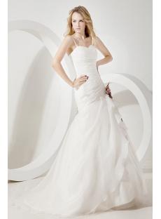 Ivory Straps Organza Mermaid Bridal Gowns