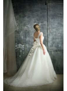 Ivory Straps Princess Ball Gown Wedding Dress