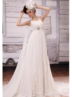 Junoesque V-neck Floor-Length Chiffon Maternity Bridal Dress