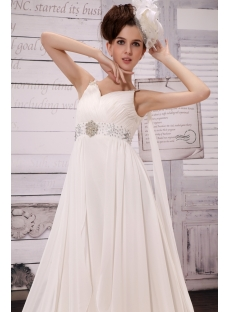 Junoesque V-neck Floor-Length Chiffon Maternity Bridal Dress