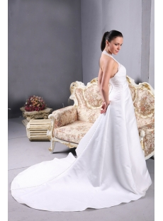 Lace Halter Bridal Gown with A-line