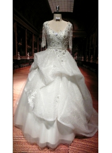 Lace Luxury Plus Size Wedding Dresses with Sleeves