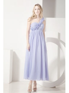 Lavender One Shoulder Ankle Length Maternity Cocktail Dress