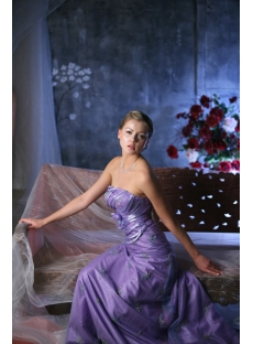 Lavender Strapless Mature Wedding Gowns