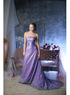 Lavender Strapless Mature Wedding Gowns