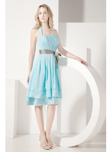 Light Blue Halter Bridesmaid Gown 2012 Spring