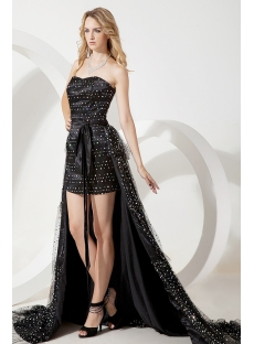 Little Black Cocktail Party Dress With Detachable Train
