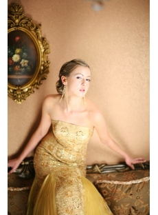 Long Gold Lace Sheath Pretty Prom Dress
