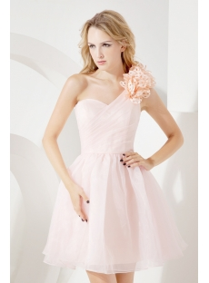 Lovely Pink Short One Shoulder Cocktail Dress