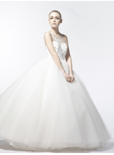 Luxurious 2014 Ball Gown Wedding Dresses with Illusion Neckline