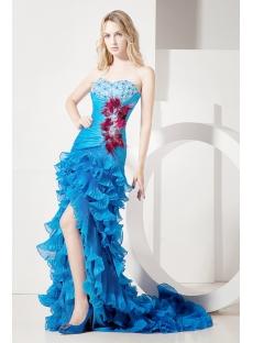Luxurious Blue Celebrity Dress with Train