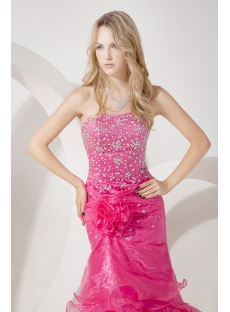 Luxury Hot Pink Sheath Celebrity Dress with Train