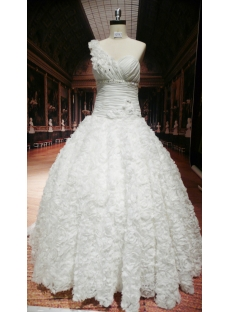 Luxury One Shoulder Ball-Gown Wedding Dress With Ruffle