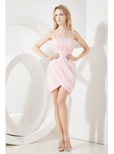 Mini Length Pink Straps Homecoming Dress