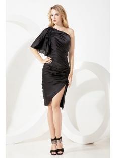 One Shoulder Black Homecoming Dress with Split
