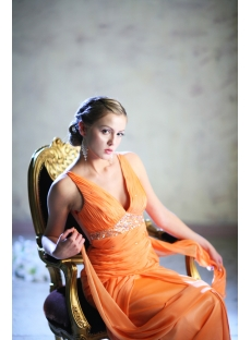 Orange Plunge Plus Size Prom Dresses 2013