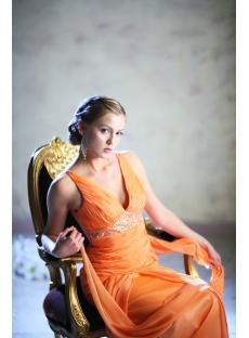 Orange Plunge Plus Size Prom Dresses 2013