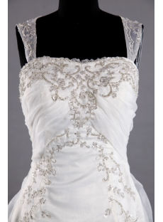 Pretty Embroidery Bridal Gowns with Illusion Back