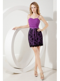 Purple Little Back Cocktail Dress with Black Lace
