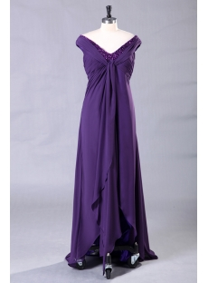 Purple Long Plus Size Prom Dress with High-low Hem