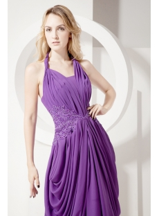 Purple Plunging Mother of Bride Gown with Train