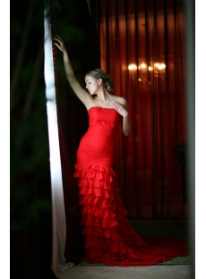 Red Chiffon Sheath Elegant Bridal Gown with Train