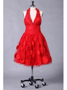 Red Halter Graduation Dresses with Tea Length
