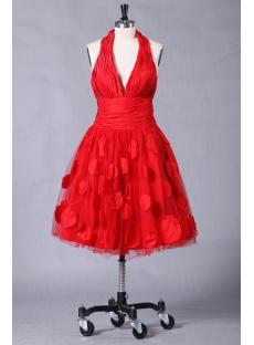 Red Halter Graduation Dresses with Tea Length