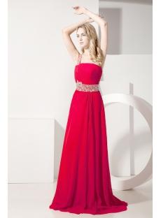 Red One Shoulder Romantic Vintage Evening Dress