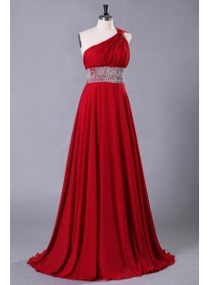 Red Petite Chiffon Long Evening Dress 2013