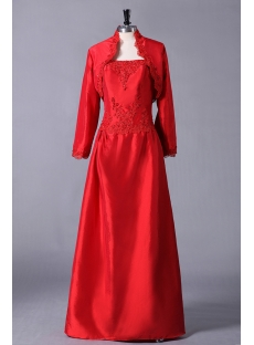Red Plus Size Mother of Groom Gown with Jacket for Winter