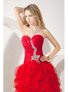 Red Pretty Quinceanera Gown with Split Front
