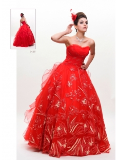 Red Princess Plus Size Quinceanera Dress