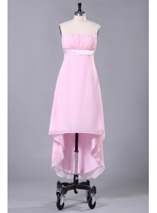 Romantic Pink Graduation Dress with High-low Hem