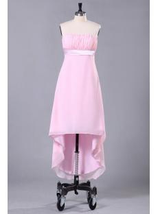 Romantic Pink Graduation Dress with High-low Hem