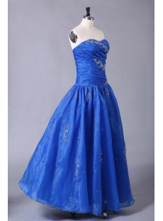 Royal Blue Organza Quinceanera Dresses for Ball Gown