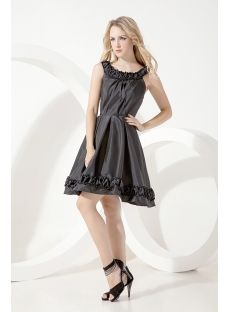 Scoop Modest Black Short Graduation Dress