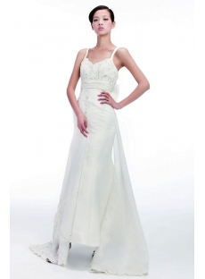 Sheath Civil Wedding Dresses with Spaghetti Straps