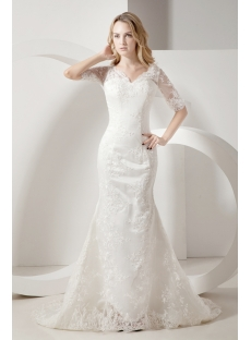 Sheath Lace Mormon Wedding Dresses with Sleeves