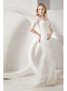 Sheath Lace Mormon Wedding Dresses With Sleeves 1st Dress Com