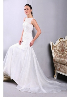 Sheath Modest Bride Wedding Dresses with Illusion Neckline