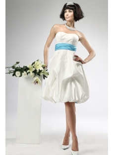 Short Satin Civil Wedding Dresses with Blue Waistband