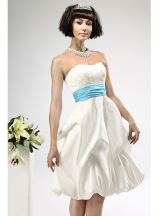 Short Satin Civil Wedding Dresses with Blue Waistband:1st ...