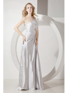 Silver 2011 Prom Dress with One Shoulder