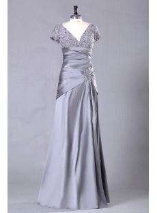 Silver Long Mother of Groom Dress with Short Sleeves