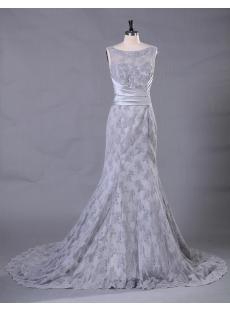 Silver Sheath Lace Bridal Gown with Illusion Neckline