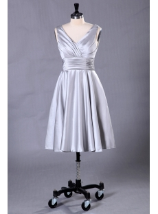 Silver Short Formal Evening Dress with Tea Length